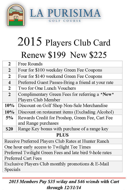 2015 La Purisima Golf Course Players Card
